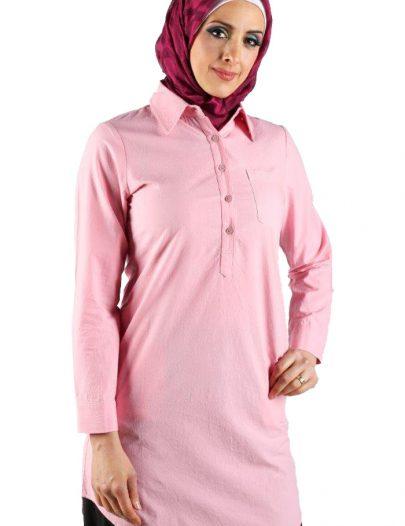 Button Neck Tunic Bright Pink