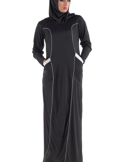 Casual Sport Abaya Black