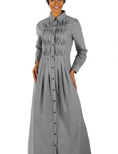 Chambray Shirtdress Abaya Grey