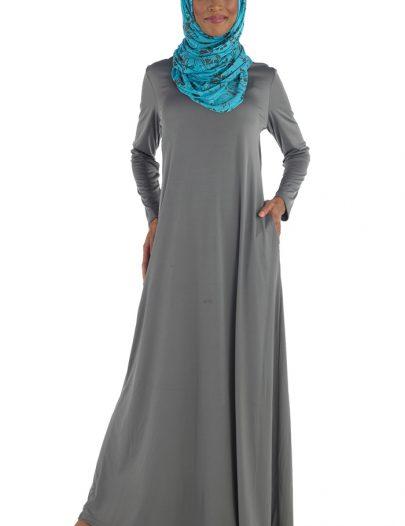 Colorful Knit Abaya Grey