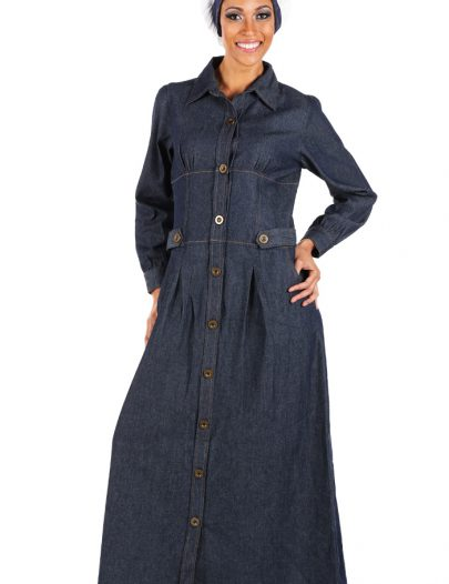 Denim Shirtdress Abaya Blue