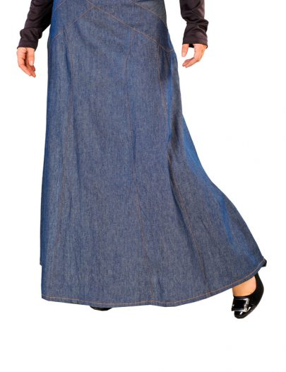Denim Stitched Skirt Blue