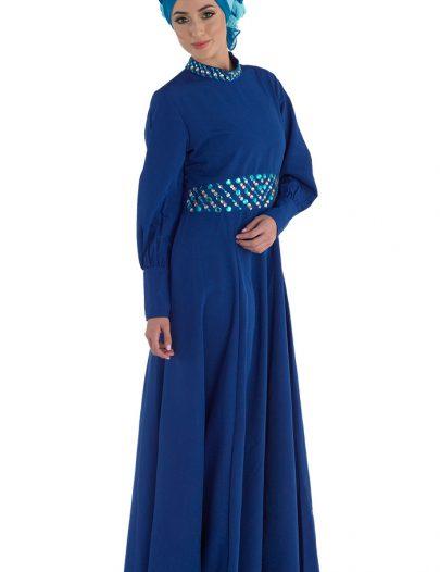 Evening Abaya Dress Monaco Blue