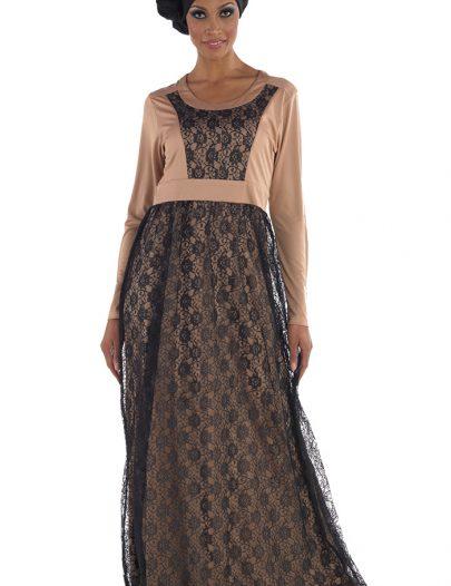 Habeeba Lace Abaya Grey