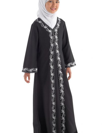 Henna Girls Abaya Black