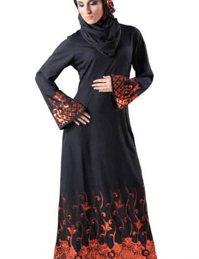 Maira Abaya Sequin Black