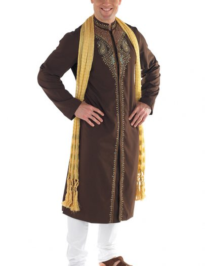 Mens Embroidered Set Brown