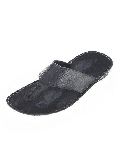 Mens Leather Flip Flop Black