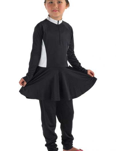 Noori 2 Piece Girls Swim Black/White Trims
