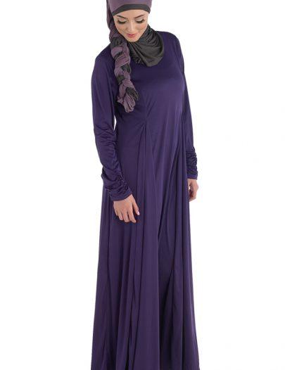 Pleated Knit Abaya Black