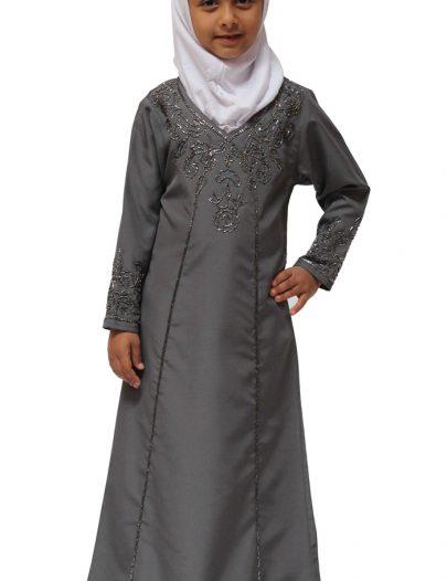 Rabiya Girl's Abaya Dark Grey