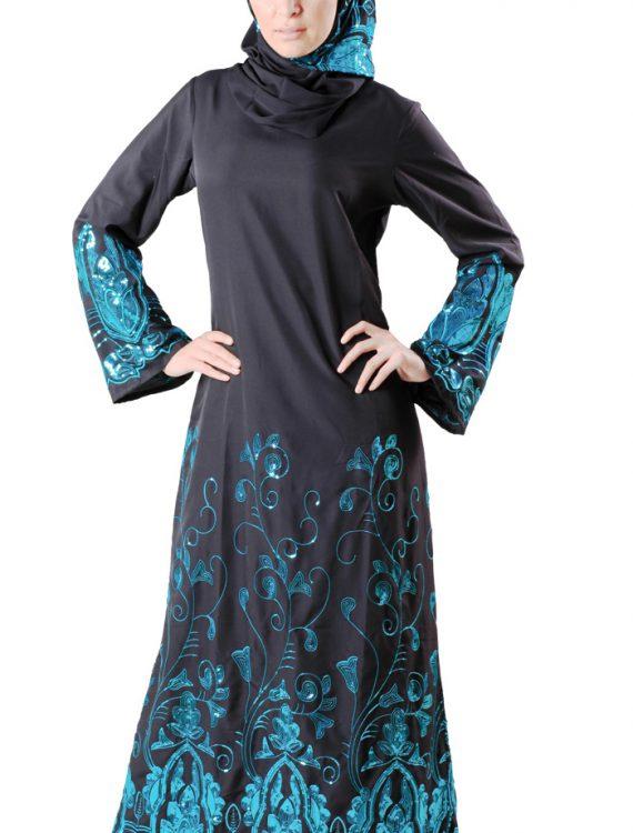 Sareena Abaya Sequin (Set) Black
