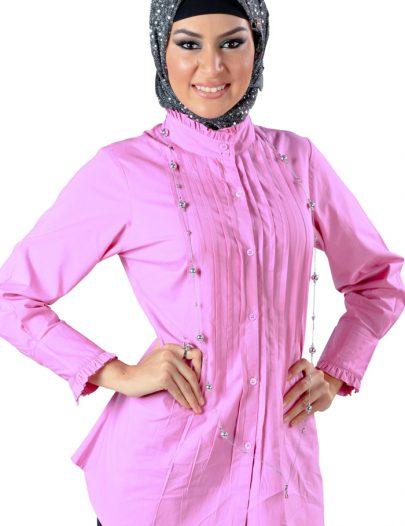 Sweet Pin-Tucked Shirt Bright Pink