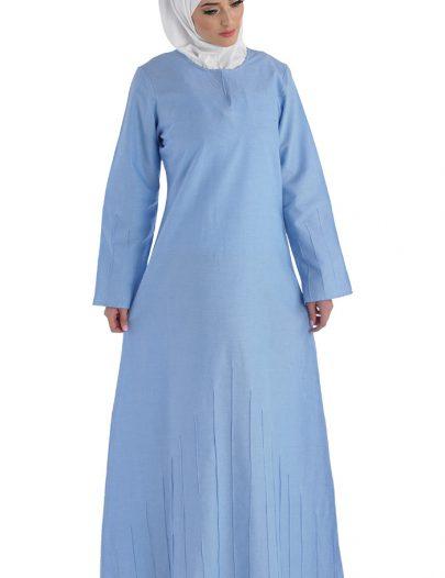 Young Girls Chambray Baha Abaya Blue