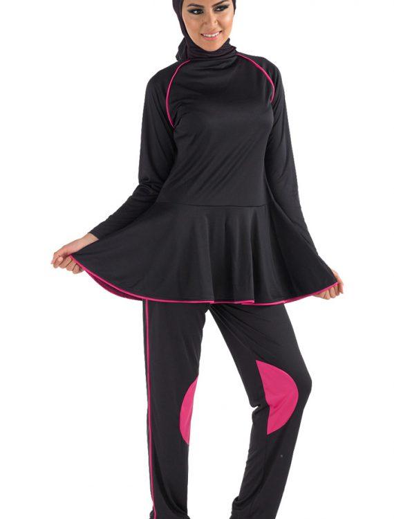 Zahry Black Burqini Set Black/Pink Trims