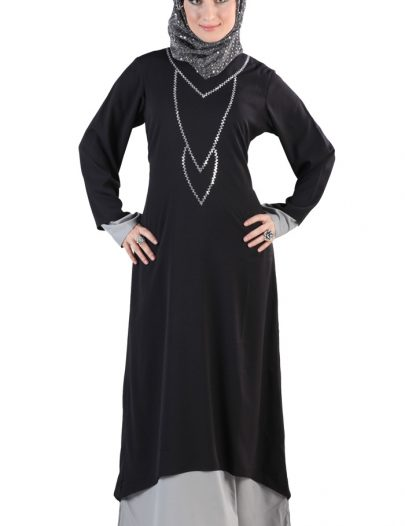 Zewar Abaya Black & Grey